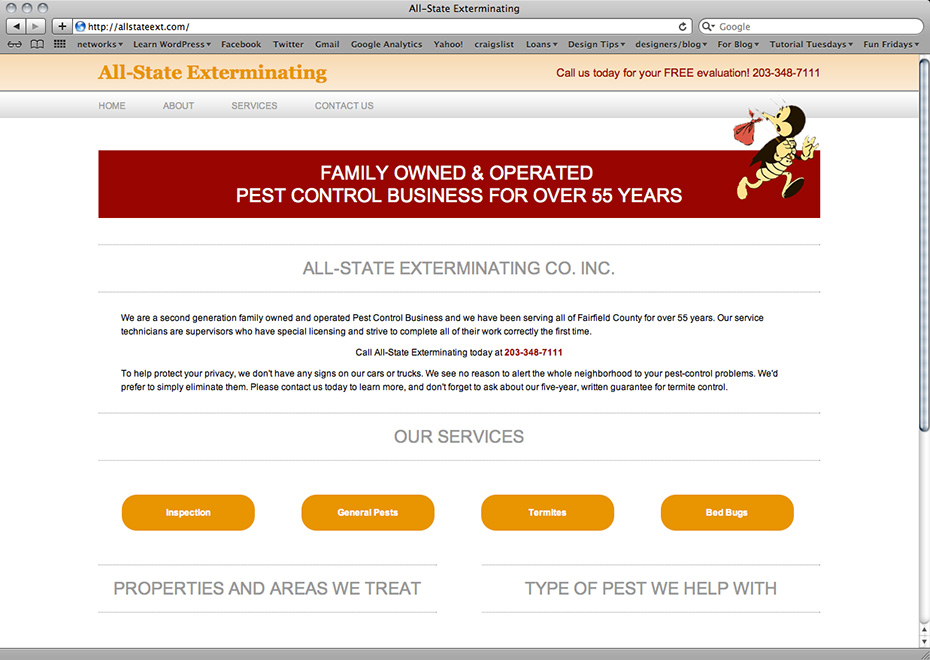 All-State Exterminating pest control service home page