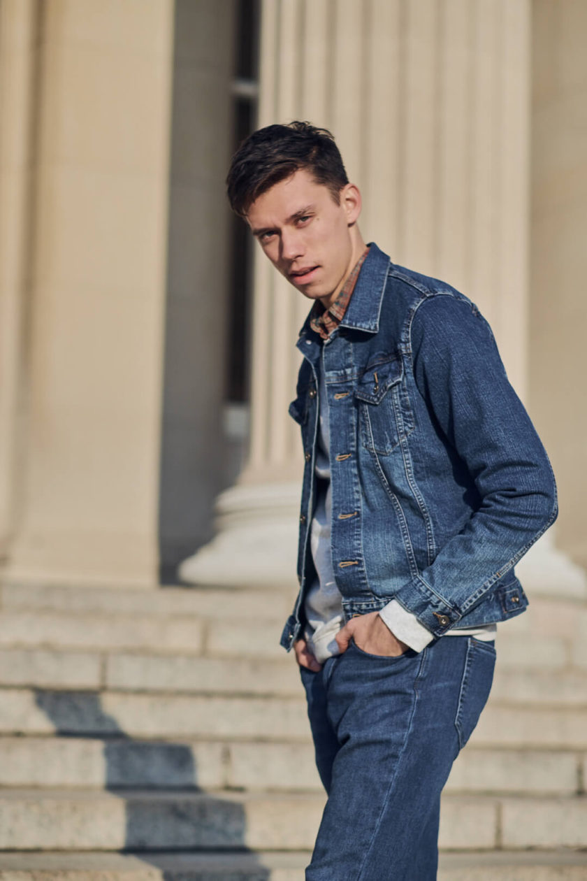 Fuji X Pro2 with xf 56mm f1.2 - Men's Fashion Photography with denim outfit around Columbia University - Model: Roberto