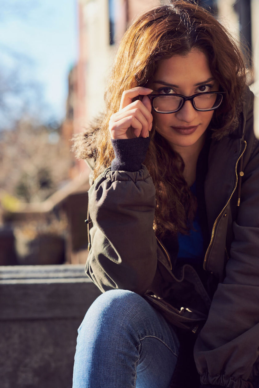 Fuji X Pro2 with xf 56mm f1.2 - Portrait Photography in Brooklyn New York around Prospect Part. Woman with glasses - Model: Andrea