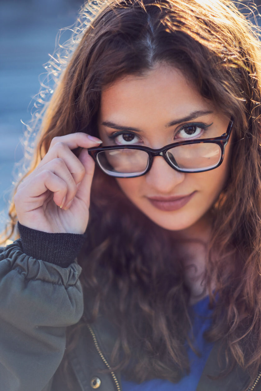 Fuji X Pro2 with xf 56mm f1.2 - Portrait Photography in Brooklyn New York around Prospect Part. Woman with glasses- Model: Andrea