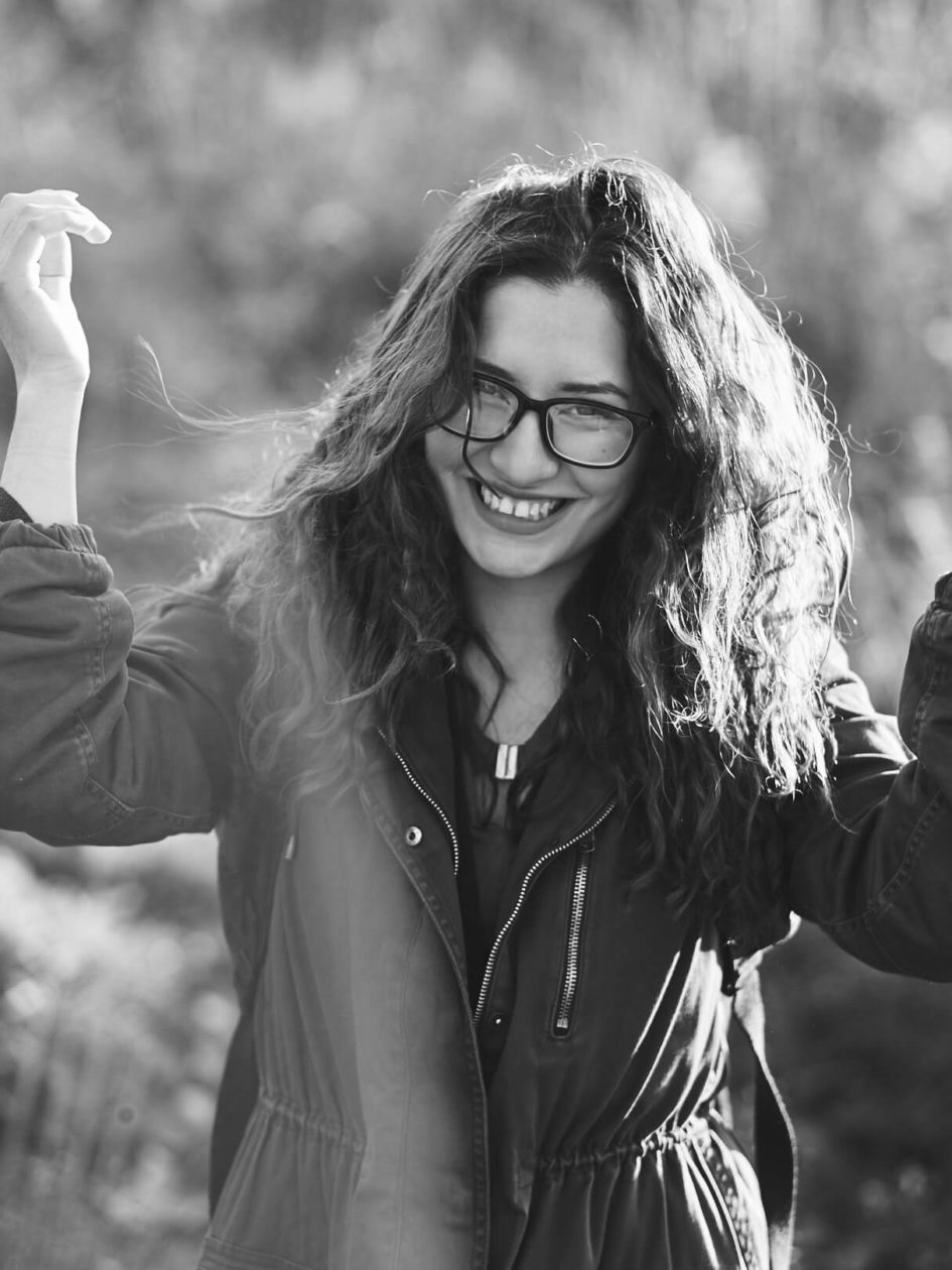 Fuji X Pro2 with xf 56mm f1.2 - Black and White Portrait Photography in Brooklyn New York around Prospect Part. Woman with glasses and a smile - Model: Andrea