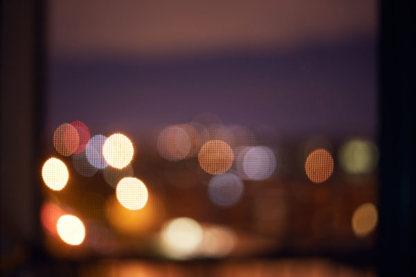 Night Photography through mesh window screen bokeh