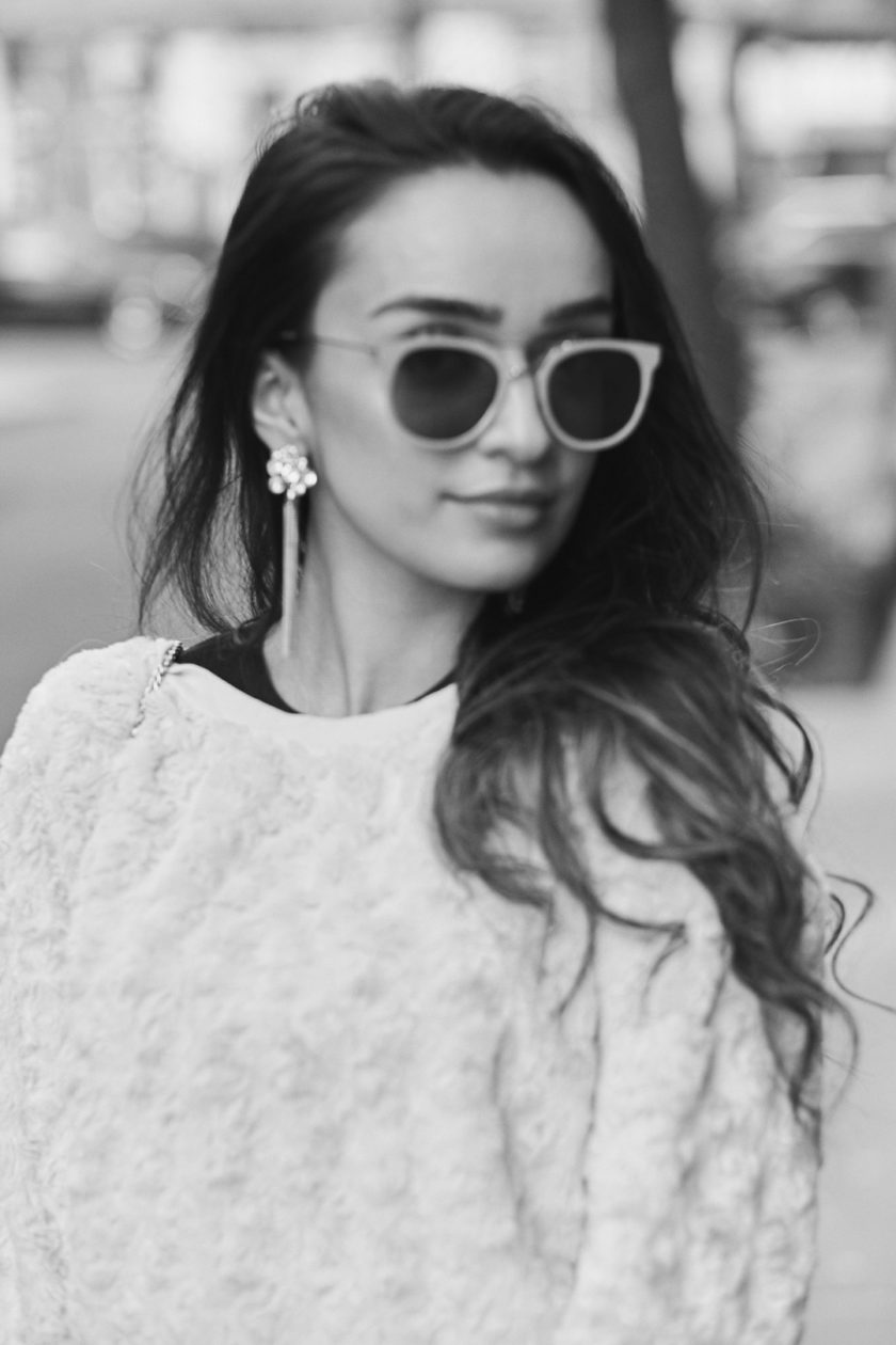 Fuji X Pro2 with xf 56mm f1.2 - Black and White Portrait Lifestyle Fashion Photography with Ramsha at Sweet Time Dessert Cafe in New York City