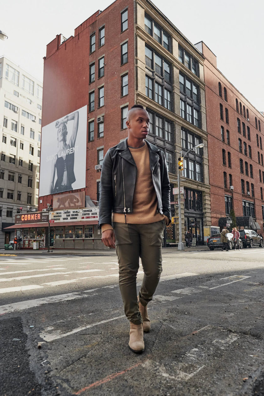 Fuji X Pro2 with xf 16mm f1.4 - Frank and Oak Men's Fashion Photography in SoHo New York walking across the street - Model: Rashad