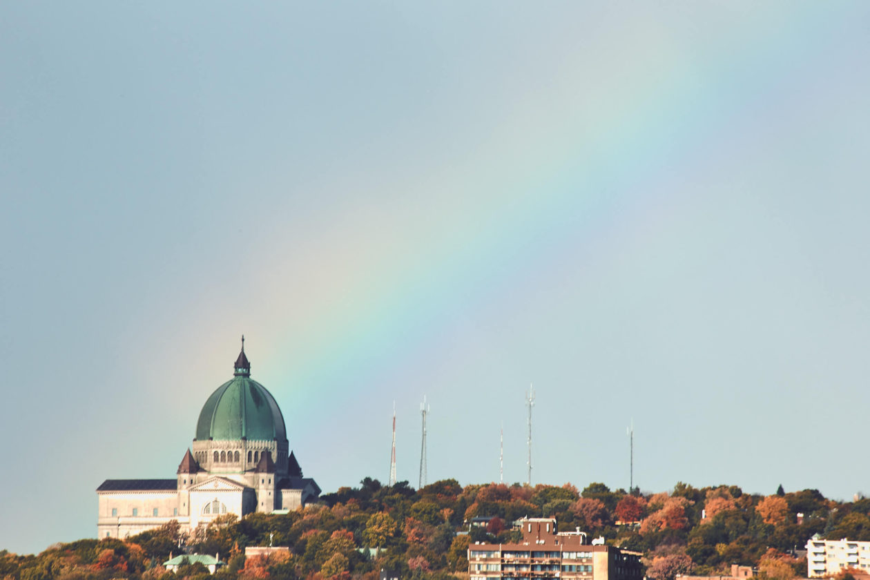 Canon 5D Mark iii with ef 70-300mm 4/5.6 - Saint Josephs Oratory of Mount Royal Montreal landscape photography with a rainbow