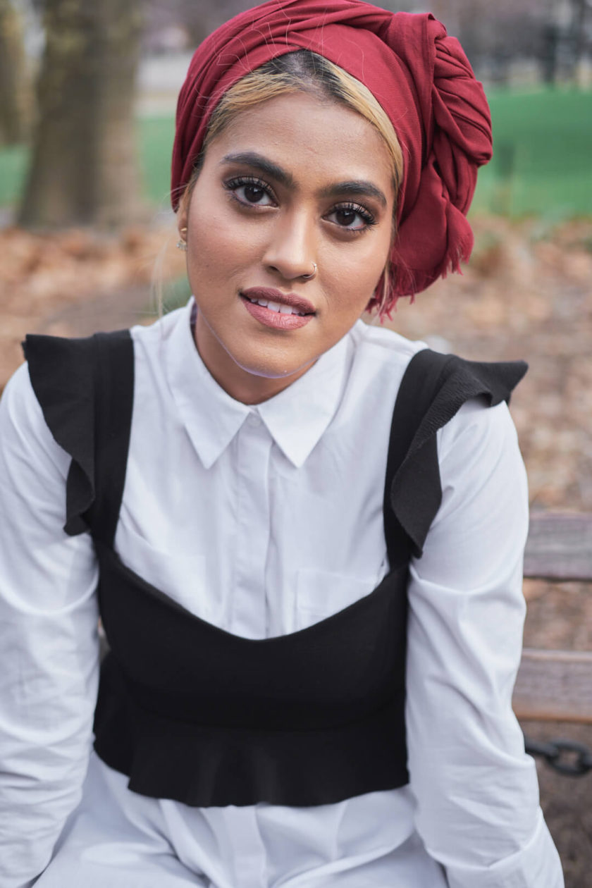 Fuji X Pro2 with xf 56mm f1.2 - Portrait Desi Fashion Fusion Photography in Washington Square Park, New York with model Syeda