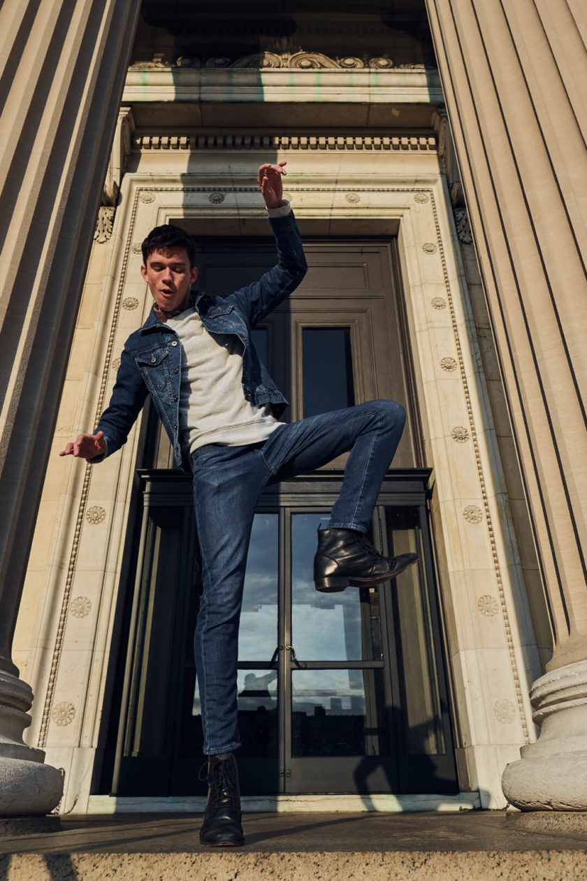 Fuji X Pro2 with xf 16mm f1.4 - Men's Fashion Photography with denim outfit around Columbia University - Model: Roberto