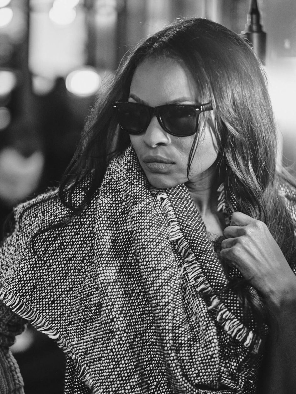 Fuji X Pro2 with xf 56mm f1.2 - Black and White Fashion Editorial Photography in Joe and the Juice at the Oculus in New York with model Annie