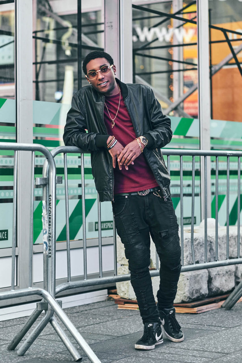Fuji X Pro2 with xf 56mm f1.2 - Fashion lifestyle photography around New York City Time Square - Model: Bryan