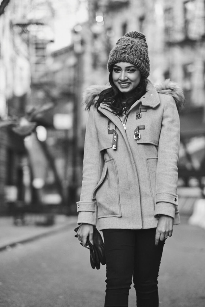 Fuji X Pro2 with xf 56mm f1.2 - Black and White Winter Fashion Portrait Photography in Greenwich Village, New York with model Fadia