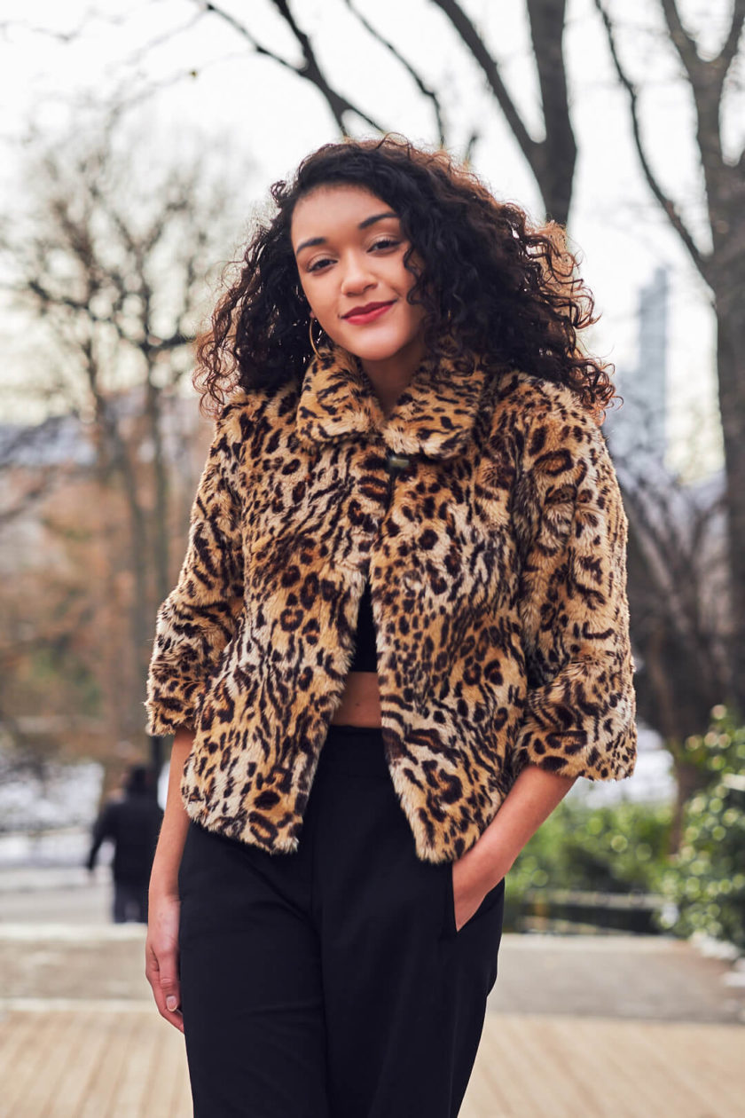 Fuji X Pro2 with xf 56mm f1.2 - Women's Fashion Photography in Central Park - Woman with leopard print jacket - Model: Jess