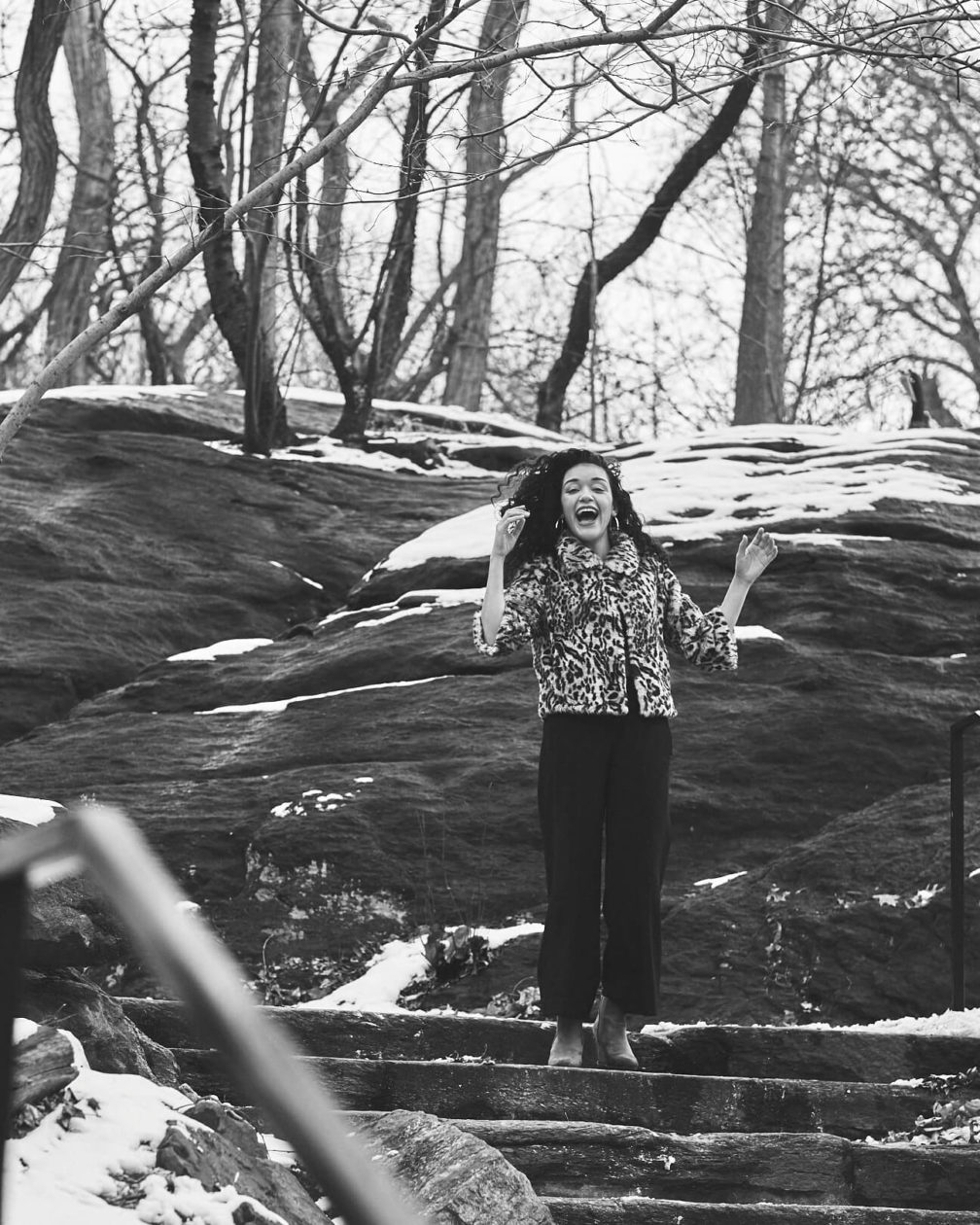 Fuji X Pro2 with xf 56mm f1.2 - Black and White Women's Fashion Photography in Central Park - Woman with leopard print jacket - Model: Jess