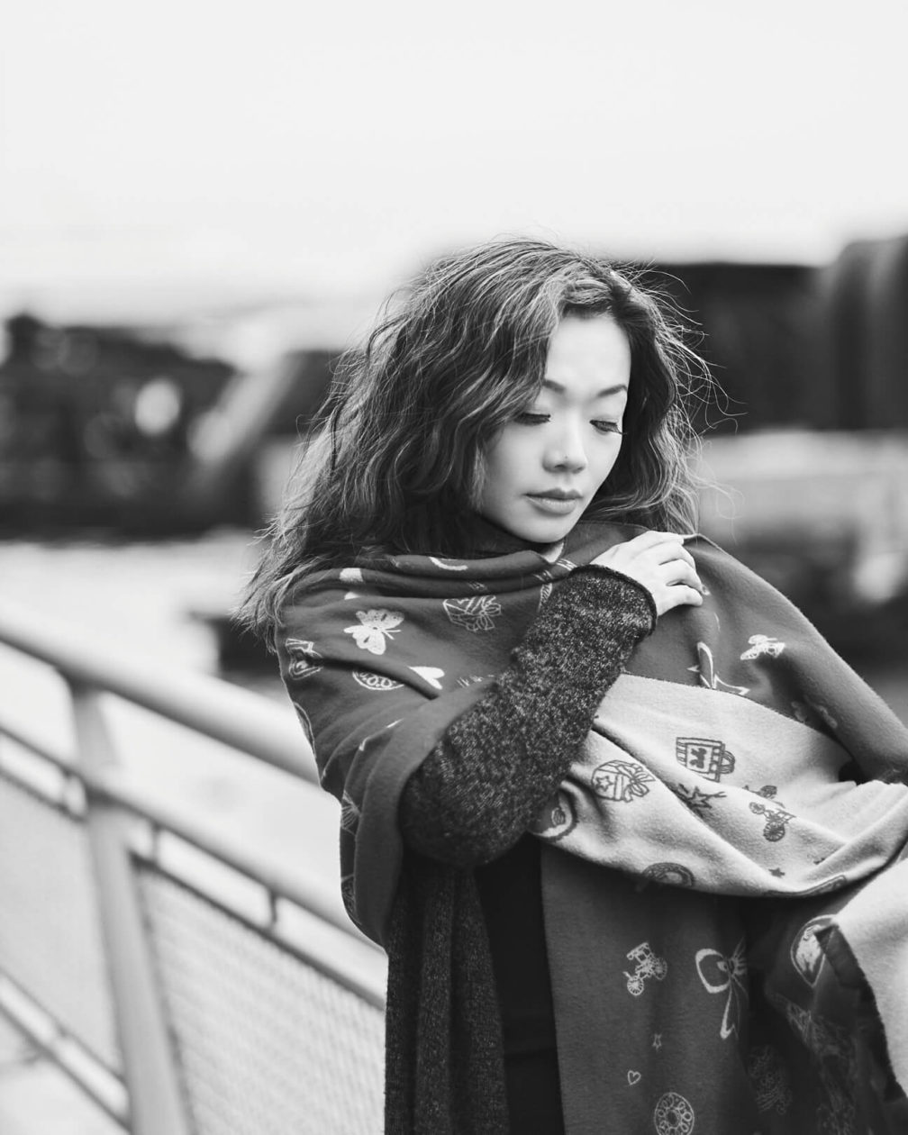 Fuji X Pro2 with xf 56mm f1.2 - Asian woman with scarf - Black and White Portrait Fashion Photography in Riverside Park New York - Model: Lise