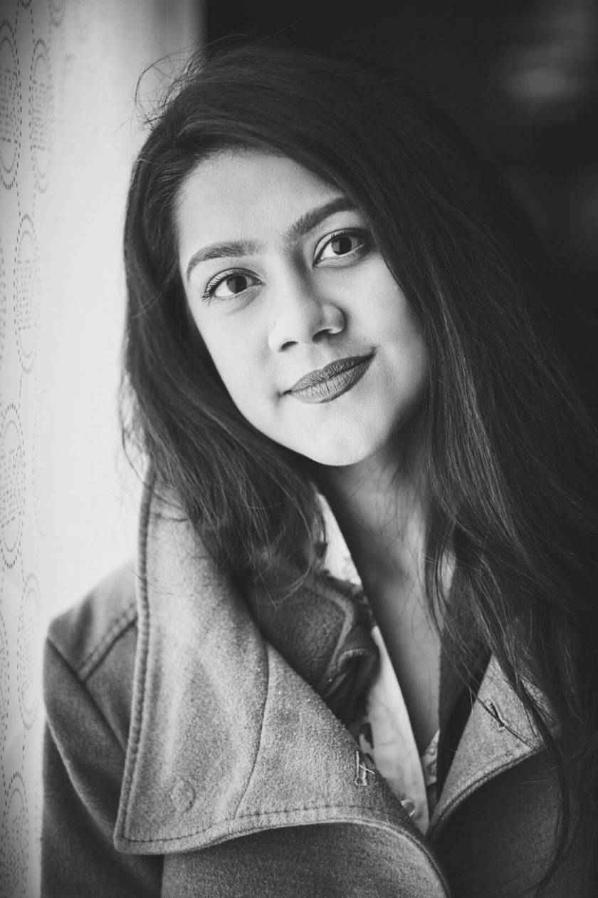 Fuji X Pro2 with xf 56mm f1.2 - Black and White women's fashion portrait photography in Columbus Circle New York - Model: Mousumi
