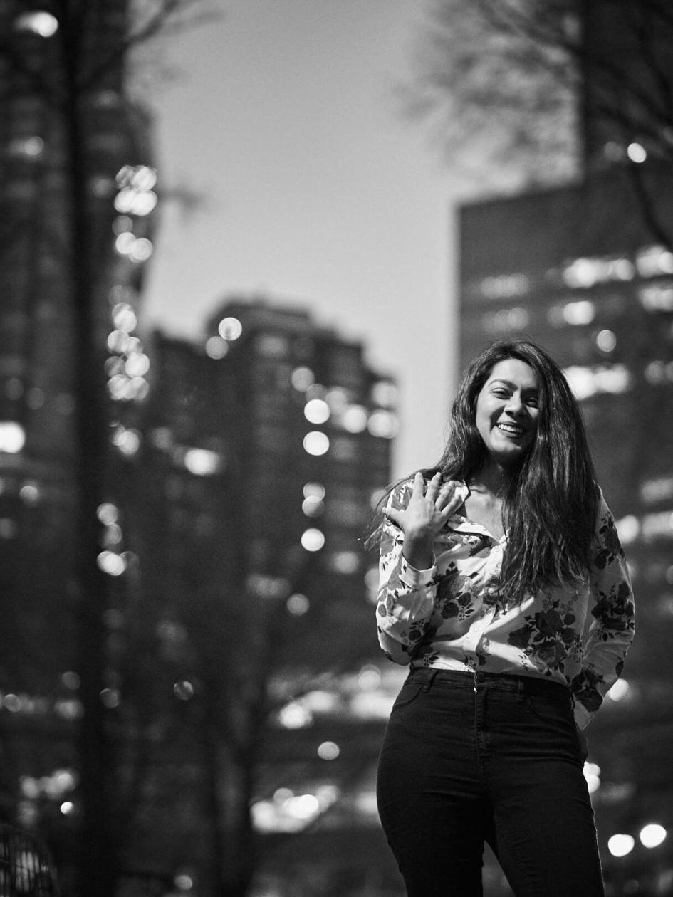 Fuji X Pro2 with xf 56mm f1.2 - Black and White women's fashion portrait photography in Central Park New York - Model: Mousumi
