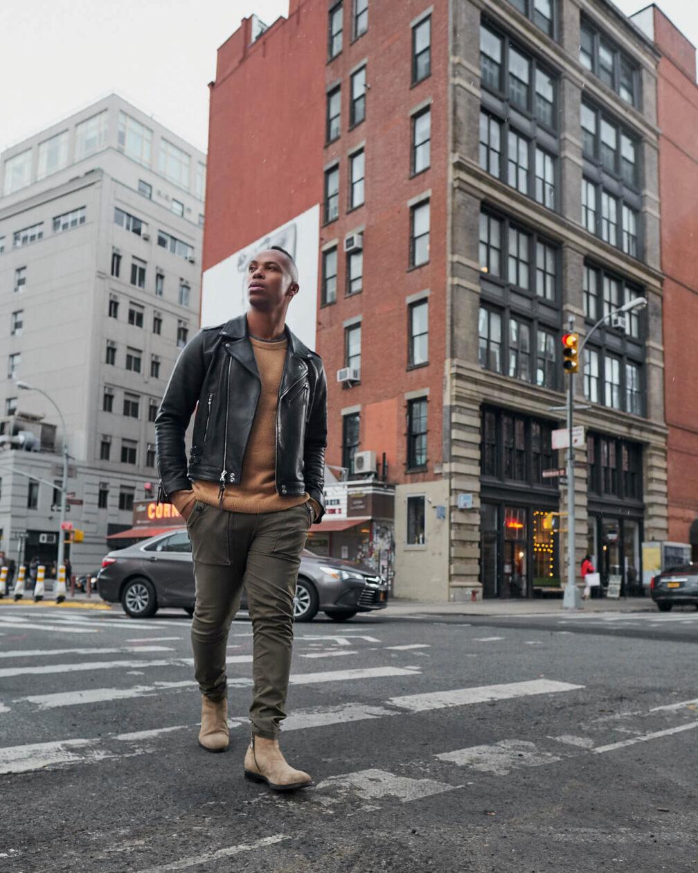 Fuji X Pro2 with xf 16mm f1.4 -Frank and Oak Men's Fashion Photography in SoHo New York walking across the street - Model: Rashad