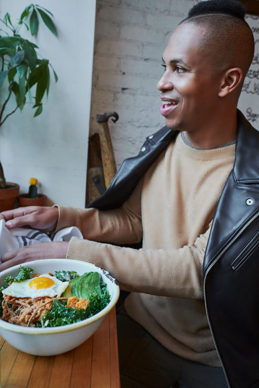 Fuji X Pro2 with xf 16mm f1.4 - Frank and Oak Lifestyle Men's Fashion Photography in SoHo New York in restaurant - Model: Rashad